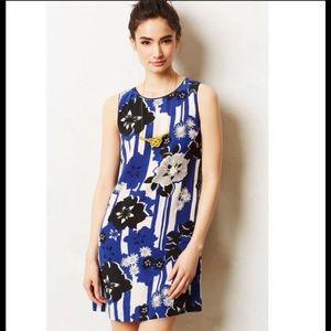 Maeve floral silk sheath dress blue white 4